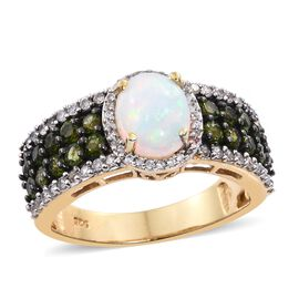 Ethiopian Welo Opal (Ovl 1.20 Ct), Russian Diopside and Natural Cambodian Zircon Ring in 14K Gold Ov