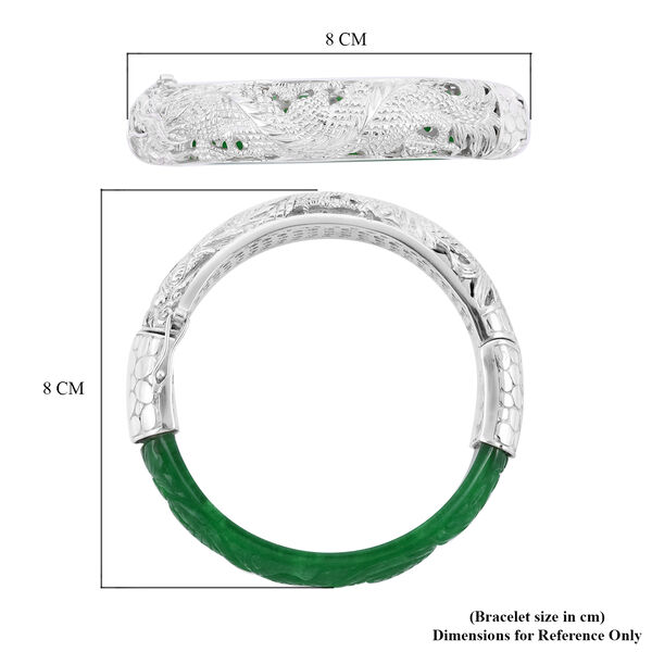 Hand Made Carved Green Jade Bangle (Size 7.5) in Sterling Silver 103.6 Ct, Silver wt 33.45 Gms