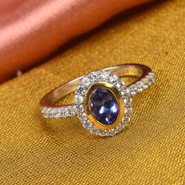 Tanzanite and Natural Cambodian Zircon Ring in Platinum and Yellow Gold Overlay Overlay Sterling Sil