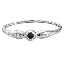 J Francis Amethyst Colour Crystal from Swarovski Bangle in Platinum Plated 7.25 Inch