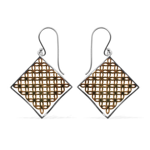 Platinum and Yellow Gold Overlay Sterling Silver Hook Earrings