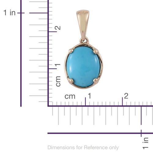 9K Yellow Gold AAA Arizona Sleeping Beauty Turquoise (Ovl) Solitaire Pendant 2.500 Ct.