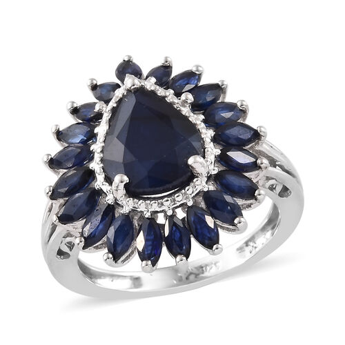 Kanchanaburi Blue Sapphire (Pear) Ring in Platinum Overlay Sterling Silver 4.500 Ct.