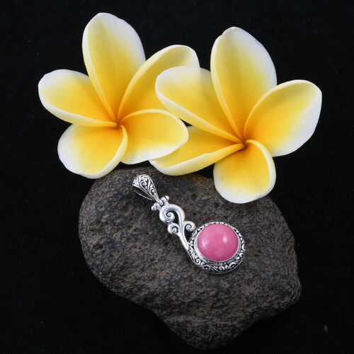 Royal Bali Collection - Pink Jade (Rnd) Filigree Pendant in Sterling Silver 12.000 Ct