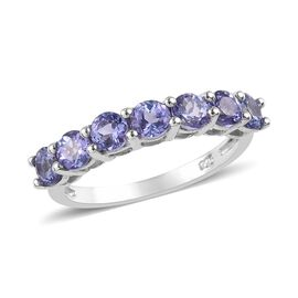 Tanzanite (Rnd) Seven Stone Ring in Platinum Overlay Sterling Silver 1.250 Ct.