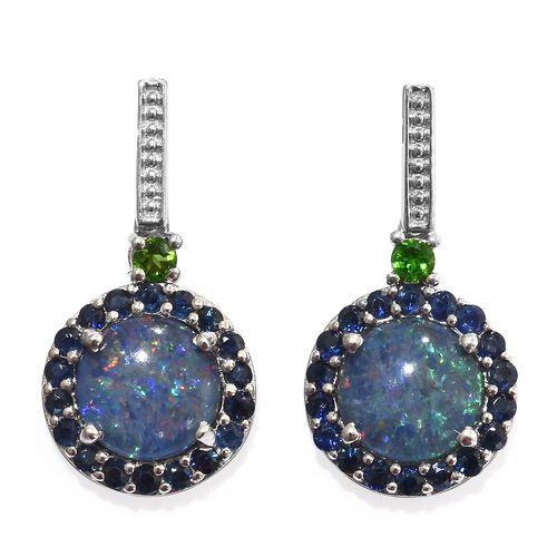 Designer Inspired-Australian Boulder Opal (Rnd 10 MM), Kanchanaburi Blue Sapphire and Russian Diopsi
