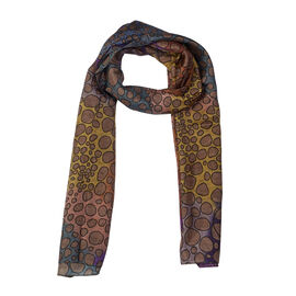 RACHEL GALLEY 100% Mulberry Silk Pebble Design Digital Printed Multicolour Pareo Scarf (Size 180x70