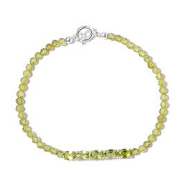 Natural Hebei Peridot Bracelet (Size 7.5) in Sterling Silver 11.02 Ct.