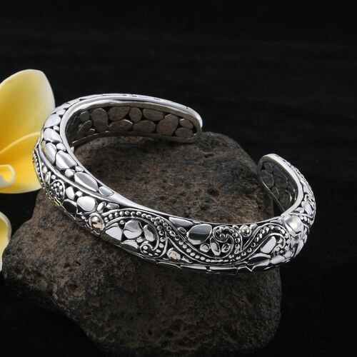Royal Bali Collection 18K Yellow Gold and Sterling Silver Bangle (Size 7.25), Metal wt 41 Gms.