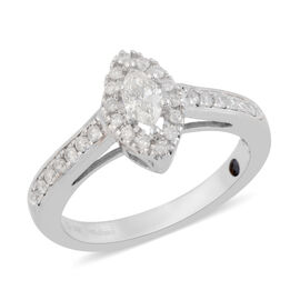 14K White Gold Diamond (I2-I3/G-H) Ring 0.50 Ct.