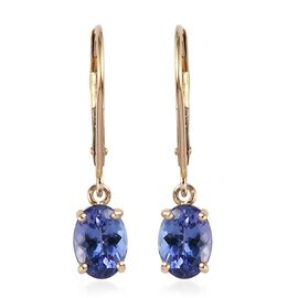 9K Yellow Gold AA Tanzanite (Ovl 7x5mm) Lever Back Earrings 1.50 Ct.