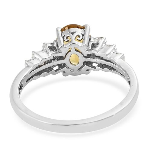 Very Rare Heliodor (Ovl 8X6 mm 1.10 Ct), Diamond Ring in Platinum Overlay Sterling Silver 1.250 Ct.