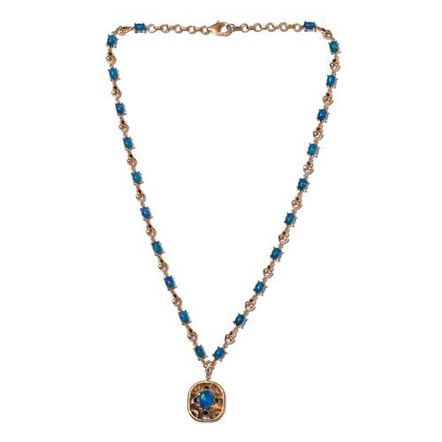 Blue Ethiopian Opal Enamelled Necklace (Size 18) in 14K Gold Overlay Sterling Silver 8.05 Ct, Silver wt. 18.00 Gms