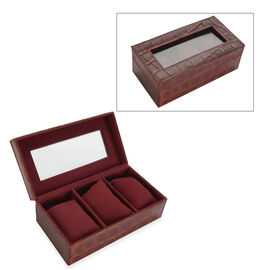 Croc Embossed Leather Watch Box with 3 Section Watch Cushions (Size 21x11x7.5 Cm) - Burgundy