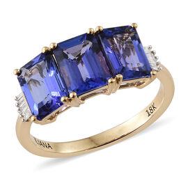 ILIANA AAA Tanzanite (3.00 Ct) and Diamond 18K Y Gold Ring  3.050  Ct.