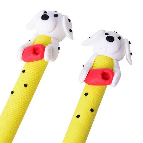 Set of Ten Dog Theme Yellow Colour Pens (Black Ink) and One Garden Theme Pen Holder (Size 7X6 Cm)