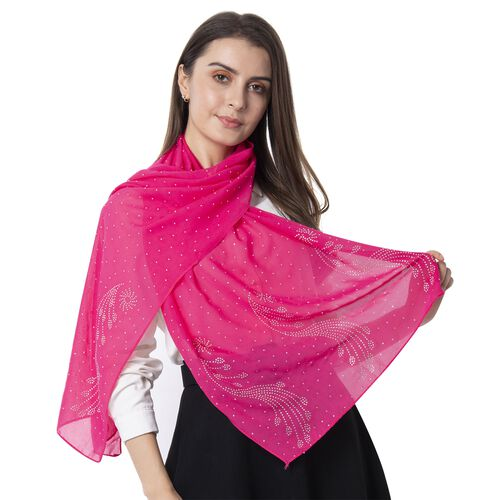 Pink Colour Peacock Pattern Crystal Embellished Scarf (Size 80.01x50.80 Cm)