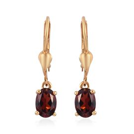 Mozambique Garnet (Ovl) Lever Back Earrings in 14K Gold Overlay Sterling Silver 1.80 Ct.