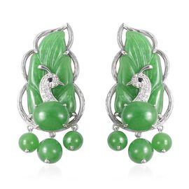 67.29 Ct Green Jade Multi Gemstone Pecock Leaf Earrings in Silver 7.80 Grams