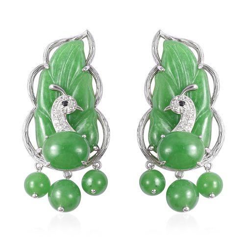 67.29 Ct Green Jade Multi Gemstone Pecock Leaf Earrings in Silver 7.80 Grams