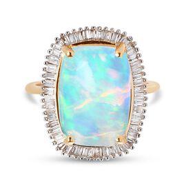 9K Yellow Gold Wegel Tena Opal and Diamond Ring 4.50 Ct.