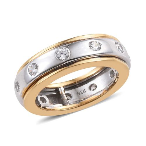 J Francis Made with Swarovski Zirconia Stacker Band Ring in Sterling Silver 6.2 Grams