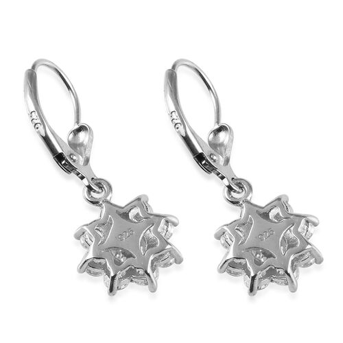 J Francis - Platinum Overlay Sterling Silver Lever Back Floral Halo Earrings Made with SWAROVSKI ZIRCONIA 4.26 Ct.