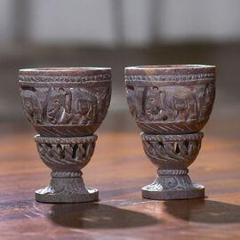 Nakkashi Set of 2 decorative hand carved soapstone egg holders (7.5X3.5 CM) - IVORY/GREY.