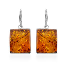 Baltic Amber Drop Earrings with Lever Back in Silver 6 Grams