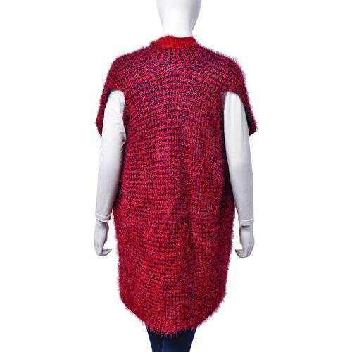 Italian Designer Inspired-Red and Navy Colour Sleeveless Ruana (Free Size)