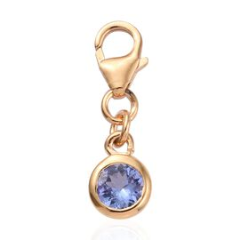 Tanzanite (0.50 Ct) 14K Gold Overlay Sterling Silver Charm  0.500  Ct.