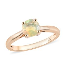 9K Yellow Gold AAA Ethiopian Welo Opal (Rnd) Solitaire Ring 0.500 Ct.