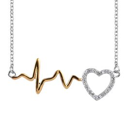 J Francis - Platinum and Yellow Gold Overlay Sterling Silver (Rnd) Pulsing Heart Necklace (Size 18)