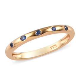 Royal Ceylon Sapphire Band Ring in 14K Gold Overlay Sterling Silver 0.10 Ct.