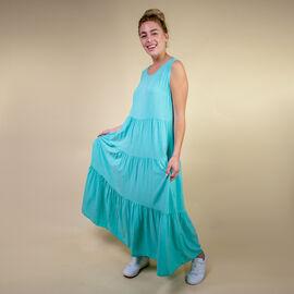 TAMSY Open Back Sleeveless Midi Dress - Pale Blue