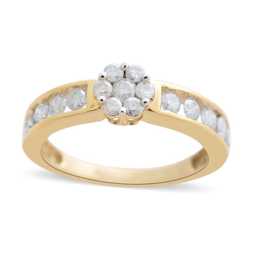 1 Carat Diamond Floral Ring in 9K Gold 2.6 Grams SGL Certified I3 GH