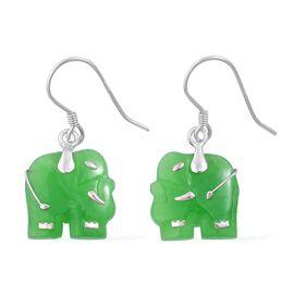 Green Jade Elephant Hook Earrings in Rhodium Plated Sterling Silver 12.250 Ct.