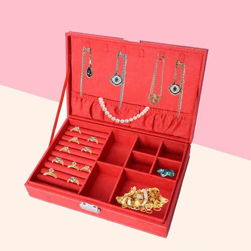 Velvet Multiple Compartment Jewellery Box with Lock (Size 28x18.5x6.5 Cm) - Red