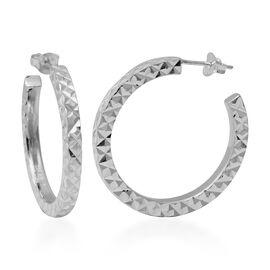 Sterling Silver Hoop Earrings (with Push Back), Silver wt. 5.93 Gms