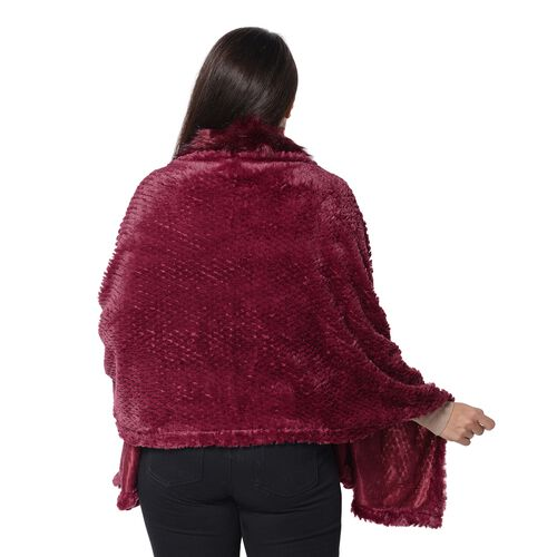 Super Soft Faux Fur Wrap with Pineapple Pattern (Size 152x59 Cm) - Wine