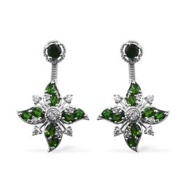 GP Russian Diopside (Rnd and Ovl), Natural Cambodian Zircon and Kanchanaburi Blue Sapphire Earrings (with Push Back) in Platinum Overlay Sterling Silver 5.750 Ct.