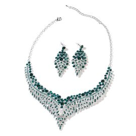2 Piece Set - Green Austrian Crystal (Rnd) Chandelier Design Necklace (Size 19 with 3 inch Extender)