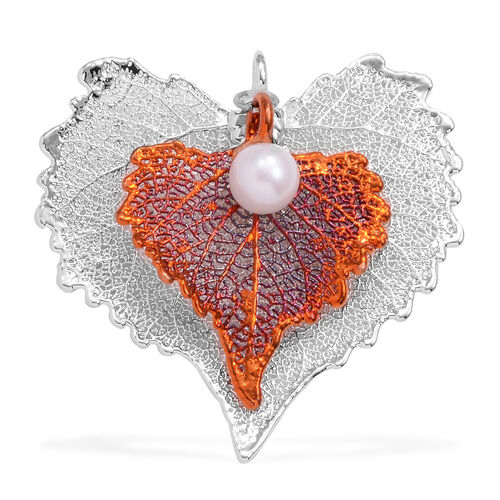 Tucson Collection Cottonwood Leaf Pendant Dipped in Silver and Copper with Pearl (Size 50x48 mm)