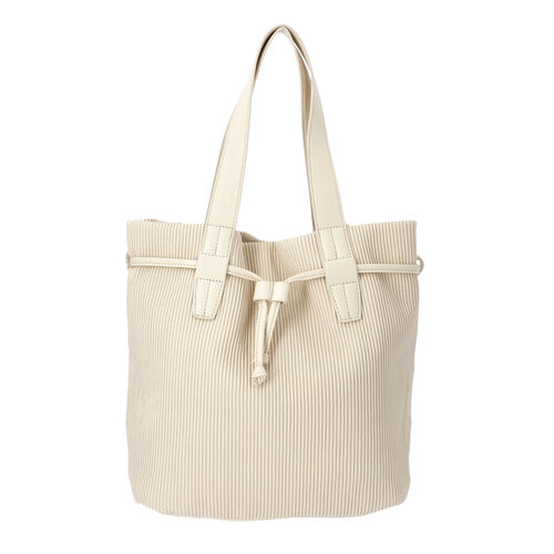 Stripe Pattern Drawstring Handbag with Magnetic Closure (Size 27x15x30 Cm) - Cream