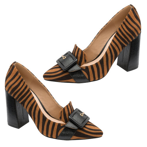 Ravel Tan Zebra Print Lincoln Block Heel Court Shoes (Size 7)
