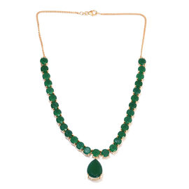 64.01 Ct Verde Onyx Statement Necklace in Gold Plated Sterling Silver