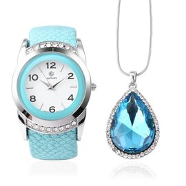 2 Piece Set - STRADA Japanese Movement Water Resistant Bangle Watch (6-7) with Simulated Aquamarine