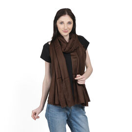100% Cashmere Wool Brown Colour Shawl Size 200x70 Cm