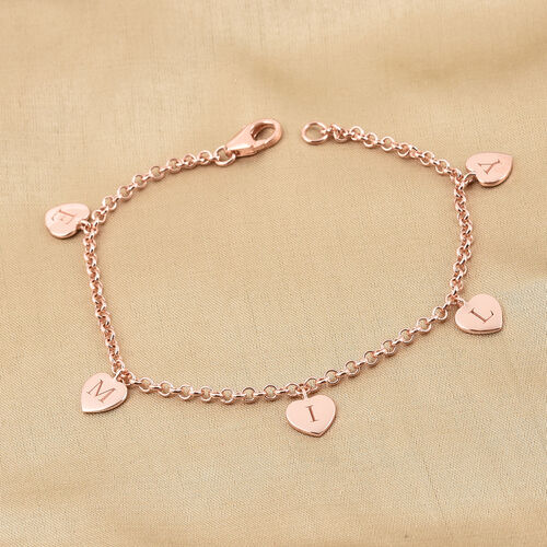 Personalise Engraved Heart Station Bracelet, Size 7.5 Inch