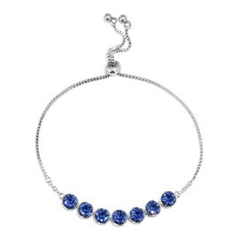 J Francis Sapphire Colour Crystal from Swarovski Bolo Bracelet in Platinum Plated 6.5 to 9.5 Inch